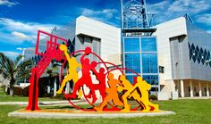 Jump, Ashkelon.  Painted Metal  Sculpture by Uri Dushy