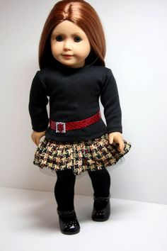 American Girl Doll Clothes-Corduroy/Tulle Ruffled Skirt, Tee Shirt and Belt