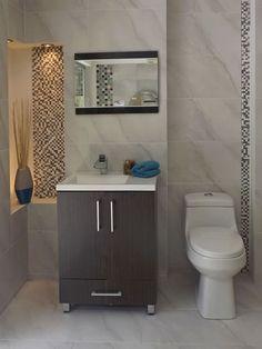 Ambiente de baño Barroque -Pared barroque beige 32x56 -Mosaico Klimos PI43 30x30 -Piso barroque 32x56 -Sanitario bronzo blanco -Mueble de baño Orbis salvaje 60x70x44 -Lavamanos pontus de 60cm blanco -Grifería para lavamanos monocontrol vizancio -Espejo recto late negro de 45x60
