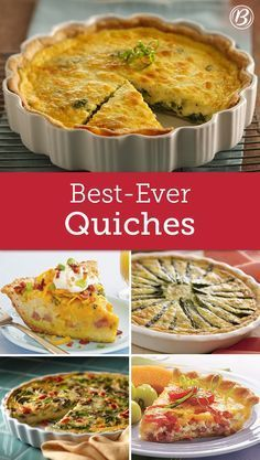 Betty's Best Quiche Recipes You're sure to find something delicious and new to try among these top-rated recipes perfect for spring brunch. And really, what's brunch without a good quiche? Breakfast Desayunos, Breakfast Dishes, Breakfast Recipes, Breakfast Casserole, Overnight Breakfast, Best Quiche Recipes, Brunch Recipes, Best Quiche Recipe Ever, Brunch Foods