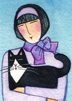 Tuxedo Cat Lady Art/ Original ACEO by SusanFayePetProjects.