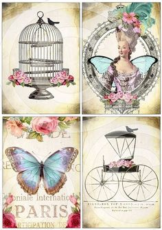 WHiMSiCaL Bird Cage Fairytale Carriage Paris Butterfly Queen Marie Antoinette DIGITAL COLLAGE SHEET altered art scrapbooking craft supplies. $4.29, via Etsy.
