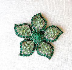 Vintage Rhinestone Brooch Emerald Mint Green by retrogroovie, $18.00