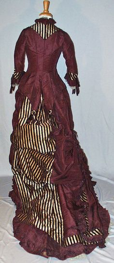 1870's Reception Gown Bustle Back 2 Piece with Long Train Museum de Accessioned | eBay