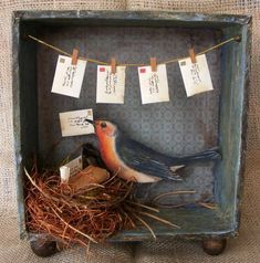 Treasured Letter Keeper Shadow Box via Etsy. Bird Crafts, Diy And Crafts, Arts And Crafts, Paper Crafts, Handmade Crafts, Handmade Rugs, Altered Tins, Altered Art, Art Altéré