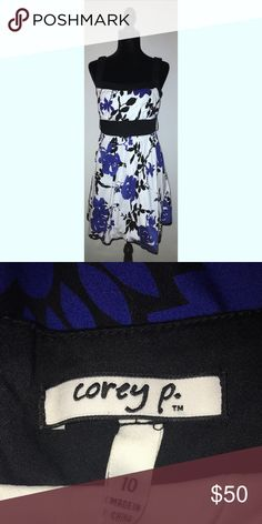 COREY P. BLUE/BLACK FLORAL WITH WHITE AND BLACK TRIM, EMPIRE WAIST, FLOWY! COREY P. Dresses