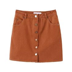 Single Breasted A-Line Khaki Skirt (66 BRL) ❤ liked on Polyvore featuring skirts, bottoms, clothes - skirts, khaki, knee length a line skirt, brown skirt, khaki skirt, a line skirt and brown a line skirt