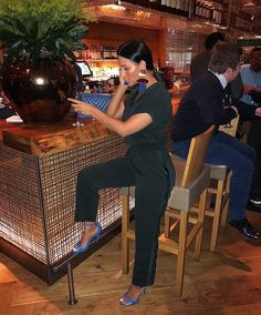 Date night wearing 2018 Collection Heels and Dark Rich Green V-Neck Jumpsuit. Available at midnight girls! Chic Outfits, Summer Outfits, Fashion Outfits, Womens Fashion, Night Outfits, Style And Grace, My Style, Blue Heels, Green Heels