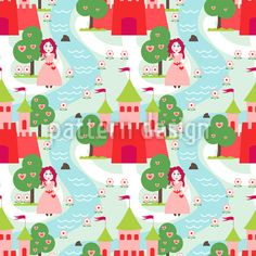 Girls Fairy Tale Vector Pattern by Figen Topbas Fukara at patterndesigns.com Vector Pattern, Pattern Design, Fairy Tales, Wonderland, Kids Rugs, Fantasy, Floral, Cute, Patterns