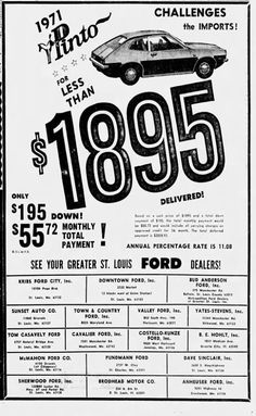 Used Car Lots, Ford Pinto, Car Dealers, Old Cars, 1970s, Ads