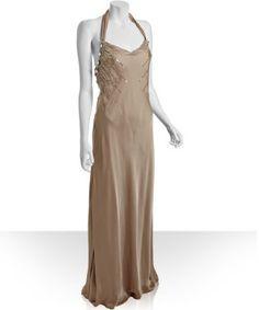 Mignon champagne sateen embellished halter dress | BLUEFLY up to 70% off designer brands at bluefly.com