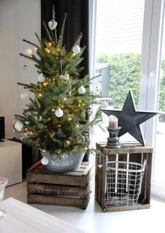 If we've convinced you enough, look at our gallery of potted Christmas tree decoration ideas below. Potted christmas trees, potted trees for christmas. Potted Christmas Trees, Noel Christmas, Country Christmas, Simple Christmas, Potted Trees, Christmas Tree Bucket, Christmas Ideas, Magical Christmas, White Christmas