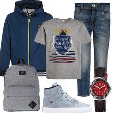 Un look perfetto per tutti i giorni: giacca con cappuccio da abbinare al jeans e alla t-shirt grigio melange. Gli accessori completano il tutto in modo perfetto: zainetto, sneakers alte e orologio.