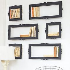 I like this idea a LOT. This would also be cute with painted frames to hold children's books or small toys.