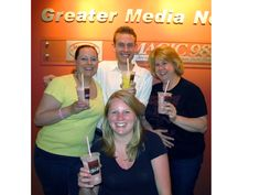 Debbie and Magic friends enjoying the brand new McCafé Blueberry Pomegranate Smoothies!