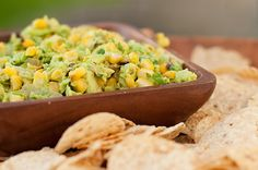 """Fire Roasted Guacamole - I don't usually like """"stuff"""" in my guac, but this looks pretty wonderful."""