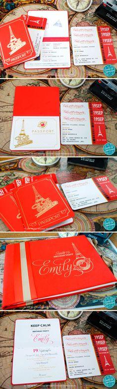 ¡Emily celebra sus Dulces Dieciséis con el glamour de París y la aventura de un viaje! Encantadoras invitaciones tipo pasaporte en dorado y rojo y pases tipo boleto personalizadas para cada invitado.  ¡Estas invitaciones se van a México DF! Hacemos envíos nacionales e internacionales. #invitacion #pasaporte #xvaños #sweet16 #paris #passport #invitation #diseño #ticket #boleto