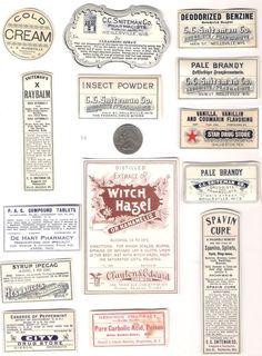 Paper Medicine Bottle Labels from 1800s