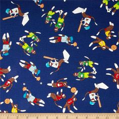 Moda Monkey Tales Sports Nuts Royal from @fabricdotcom  Designed by Erin Michael for Moda, this cotton print is perfect for quilting, apparel and home decor accents.  Colors include black, white, brown, blue, green, red, orange, yellow and blue.