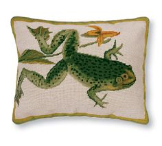 Needlepoint frog pillow