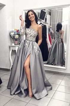 2019 New Long Sleeves Grey Lace A Line Pocket Fancy Prom Dresses Formal Evening . - - 2019 New Long Sleeves Grey Lace A Line Pocket Fancy Prom Dresses Formal Evening Grad Dress Source by Fancy Prom Dresses, Split Prom Dresses, Grey Prom Dress, Prom Dresses Long With Sleeves, Sweet 16 Dresses, Lace Evening Dresses, Dresses For Teens, Cheap Dresses, Evening Gowns