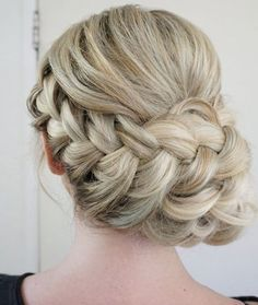 Classic braided updo wedding hairstyle; Featured Hairstyle: Heidi Marie Garrett