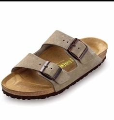 NEW Men's Birkenstock ARIZONA Taupe Suede Two Strap Sandals - Size 46 (13)