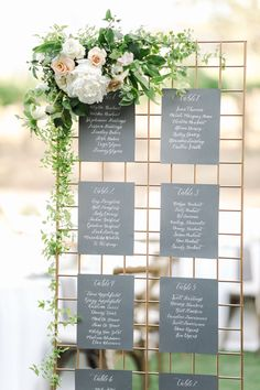 Wedding escort seating chart with white calligraphy on grey square paper on metallic stand with white and green flowers, Cavin Elizabeth Photography diy seating chart Summer Gainey Vineyards Wedding in Santa Ynez, California Seating Plan Wedding, Wedding Signage, Wedding Reception, Seating Plans, Wedding Seating Charts, Reception Dresses, Gown Wedding, Reception Ideas, Dream Wedding