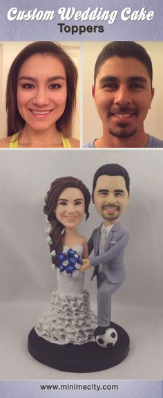 Custom Cake Toppers that look like the bride and groom! Click to see Before and After images. #weddingcake #weddingcaketopper #caketopper #weddingidea #bobblehead #bobbleheads #figurine