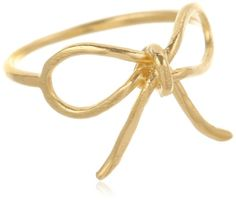 Gold Plated Sterling Silver Charmed Large Bow Ring - simple jewelry design