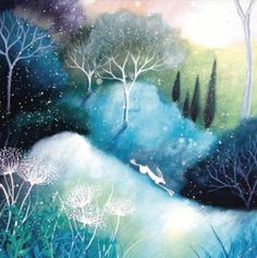 First snow.  Magical fairyland scene with fox. #Charity #Christmas card in aid of Samaritans.