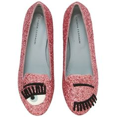 Chiara Ferragni Women 10mm Flirting Glitter Loafers (875 SAR) ❤ liked on Polyvore featuring shoes, loafers, flats, pink, flat pumps, pink glitter flats, patent loafers, loafer flats and glitter flats