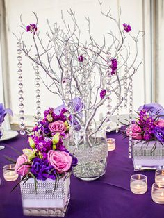 Vogue Manzanita Centerpiece Tree with purple hanging gems and flowers. Reception Decorations, Wedding Centerpieces, Wedding Table, Diy Wedding, Dream Wedding, Quinceanera Decorations, Wedding Ideas, Wedding Favors, Garden Wedding