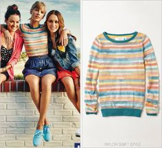 Keds advertisement | March 2014 Thanks fashionoftcd! Anthropologie 'Sheerstripe Pullover' - no longer available For Keds spring advertisements, this sunny and bright Anthro sweater was a perfect cheery look. For those of you who follow the lovely Sarah over on fashionoftcd you may have seen AnnaSophia Robb wear this during the second season ofThe Carrie Diaries. Here, the blue cuffs and bright colours complement Taylor's natural colourations via her blonde hair and blue ...