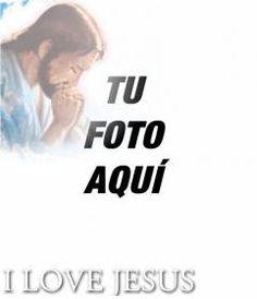 Pon en tu foto el texto I LOVE JESUS con su foto en una esquina. #jesucristo #cristo #religión #biblia #jesús #fotomontaje #rezar www.fotoefectos.com