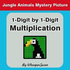Multiplication - Color-By-Number Math Mystery Picture Free Math Worksheets, Math Problems, Jungle Animals, Task Cards, Coloring Pages, Mystery, Teaching, Activities, Math Multiplication