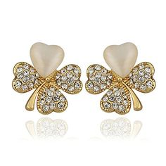 Smile_Jewelry Lucky Clover Earing Heart 24K Gold Plated Stud Earrings For Women Piercing Earings Jewelry -- You can get additional details at the image link. Note:It is Affiliate Link to Amazon.