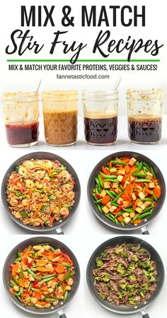 Mix & Match Stir Fry Recipes: Choose your favorite protein, veggies, and sauce for a delicious one-pan 15-minute dinner! The stir fry combinations are endless! #stirfry #healthydinner #onepotmeal #healthyrecipes