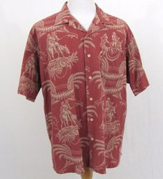 Polo Ralph Lauren Hawaiian Shirt XL Native Donkey Mule Floral Caldwell Red Camp #PoloRalphLauren #Hawaiian