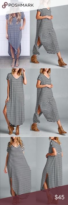 1 HR SALEThe BAILEY striped Chic dress - BLACK Super chic striped dress. Loose oversized fit.   96% rayon, 4% spandex.   Made in USA.  NO TRADE, PRICE FIRM Bellanblue Dresses Maxi