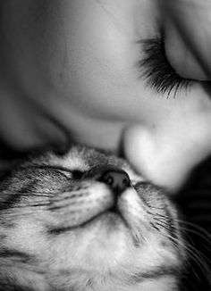 Cat lover love cute photography black and white kiss animals girl sweet cats