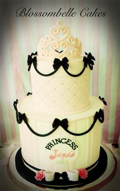 Parisian princess black white and pink birthday cake with hand crafted sugar tiara by Blossombelle Cakes - Eliza Virgona facebook.com/blossombellecakes