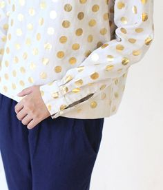 Linen Blouse Polka Dots Gold Foil Printed Tunic Casual by lanbao