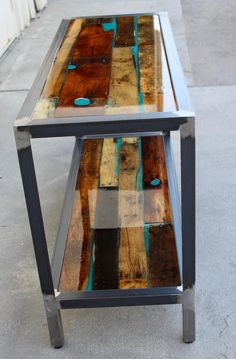 Bora Bora, Resin And Wood Diy, Wood Resin Table, Resin Furniture, Diy Furniture Easy, Car Furniture, Refinished Furniture, Into The Woods, Wood Entry Table