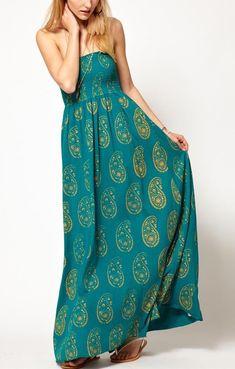 Green Printed Bustier Sleeveless Maxi Chiffon Dress