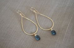 + genuine blue quartz gemstone wrapped in gold filled wire + hand forged and hammered hoops + all gold filled metal components + approx. cm (including earwire) ► This piece is ready to ship. Wire Jewelry Earrings, Copper Jewelry, Beaded Earrings, Beaded Jewelry, Jewelery, Hoop Earrings, Resin Jewelry, Handmade Wire Jewelry, Etsy Jewelry