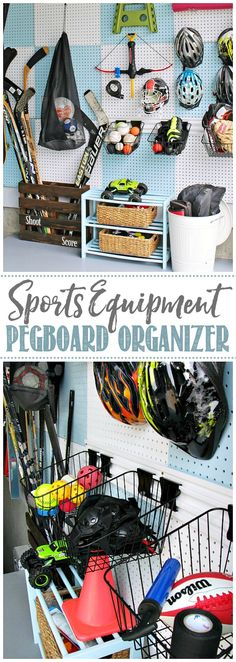 Love this DIY pegboard organizer for sports equipment. Could easily be customized for different sports equipment. #homeorganization #garageorganization #sportsequipment #sportsequipmentorganizer #pegboardorganizer Pegboard Garage, Pegboard Organization, Household Organization, Organization Ideas, Different Sports, Organizing Your Home, Creative Home, Sports Equipment, Getting Organized