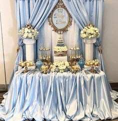 Baby Shower Dessert Table for Baby Bina by Cinderella Baby Shower, Cinderella Sweet 16, Cinderella Theme, Cinderella Birthday, Cinderella Party Decorations, Cinderella Quinceanera Themes, Girl Birthday Decorations, Sweet 16 Decorations, Quince Decorations