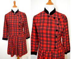 Red Plaid Dress  Velvet Collar Dress  Tartan by TheBraidedBandit