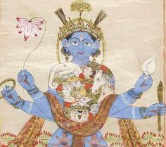 Krishna Vishvarupa - A Scroll of Meditative Chakras century. Opaque watercolor, gold, and ink on paper. (via Bonhams) Krishna Art, Lord Krishna, Yoga Art, Tantra, Indian Art, Mythology, Religion, Meditation, Buddhists